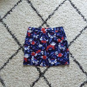 J.Crew multicolor floral printed basketweave skirt